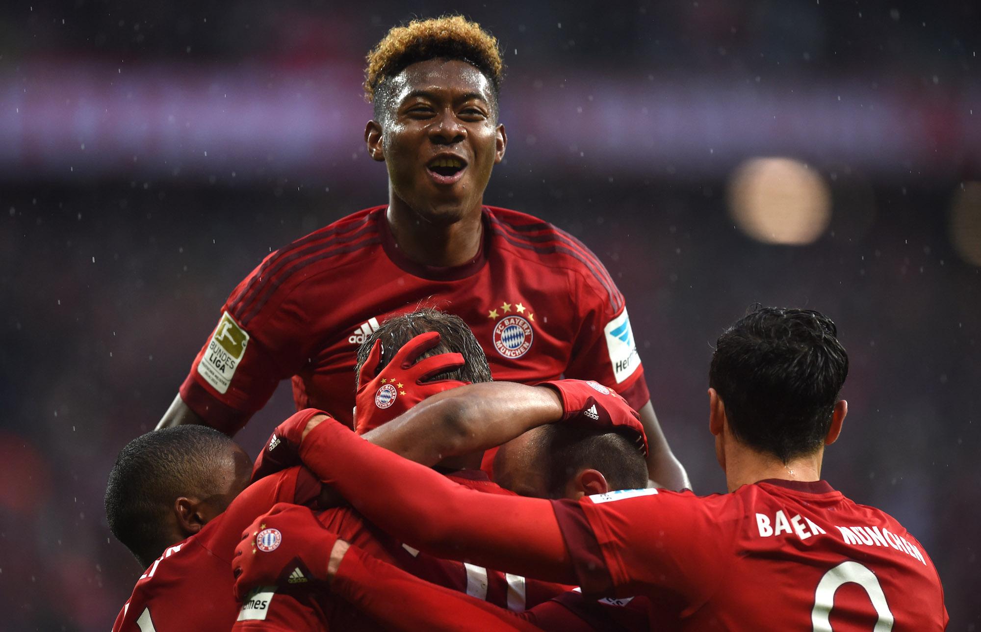 L'esultanza dei giocatori del Bayern Monaco dopo un gol contro il Darmstadt