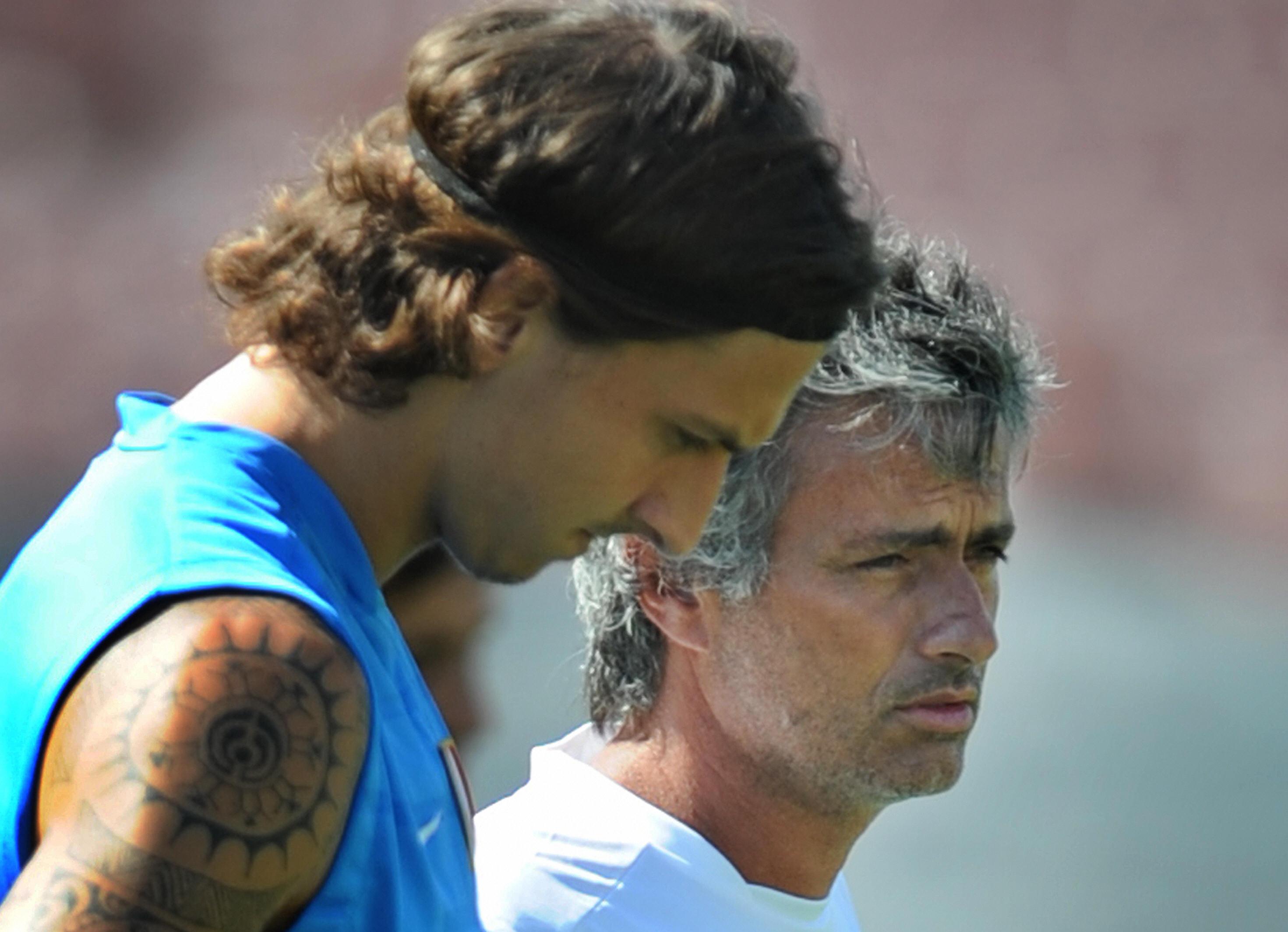 Zlatan Ibrahimovic e José Mourinho nella loro unica stagione insieme, all'Inter