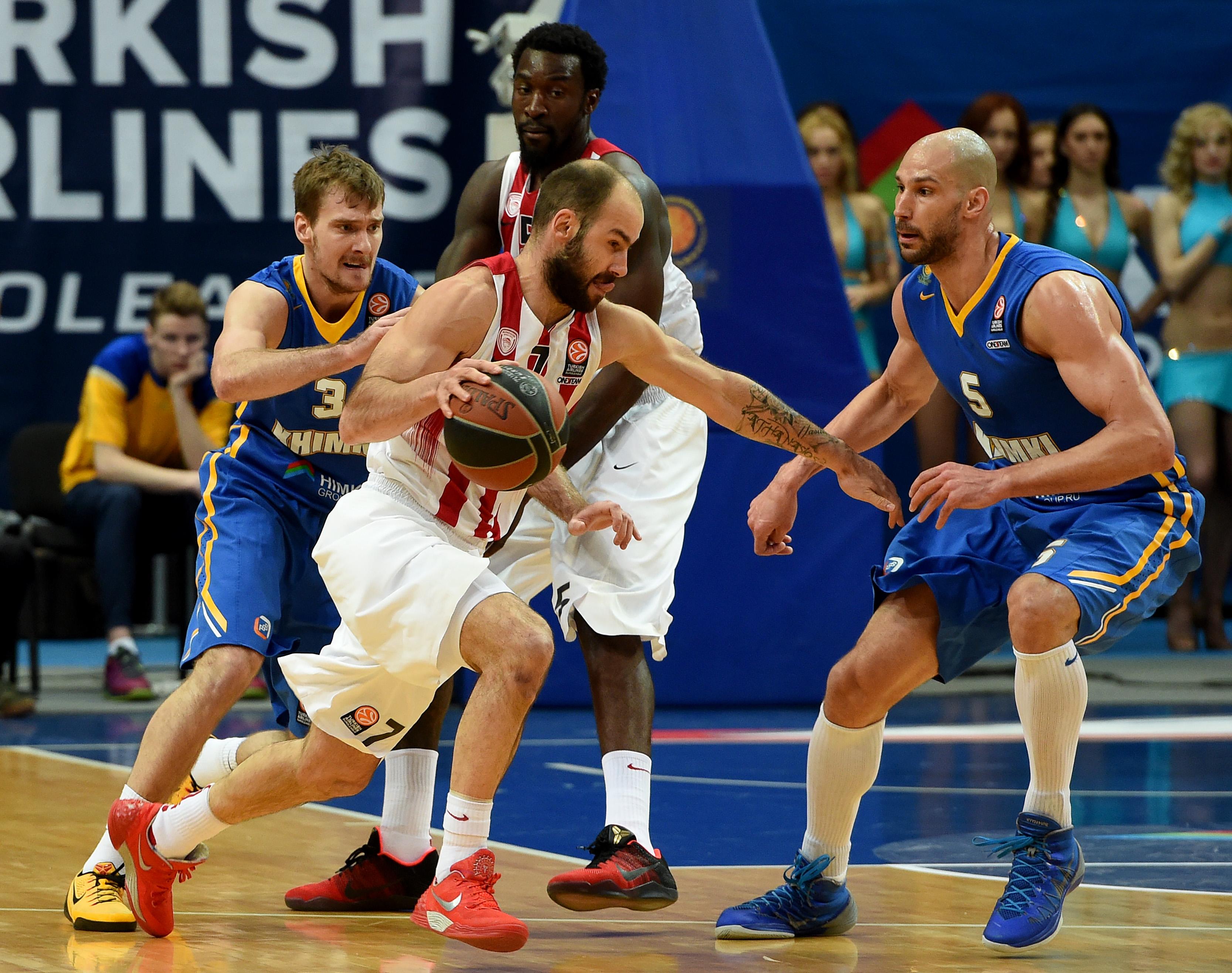 Vassilis Spanoulis impegnato nella gara contro il Khimki di settimana scorsa