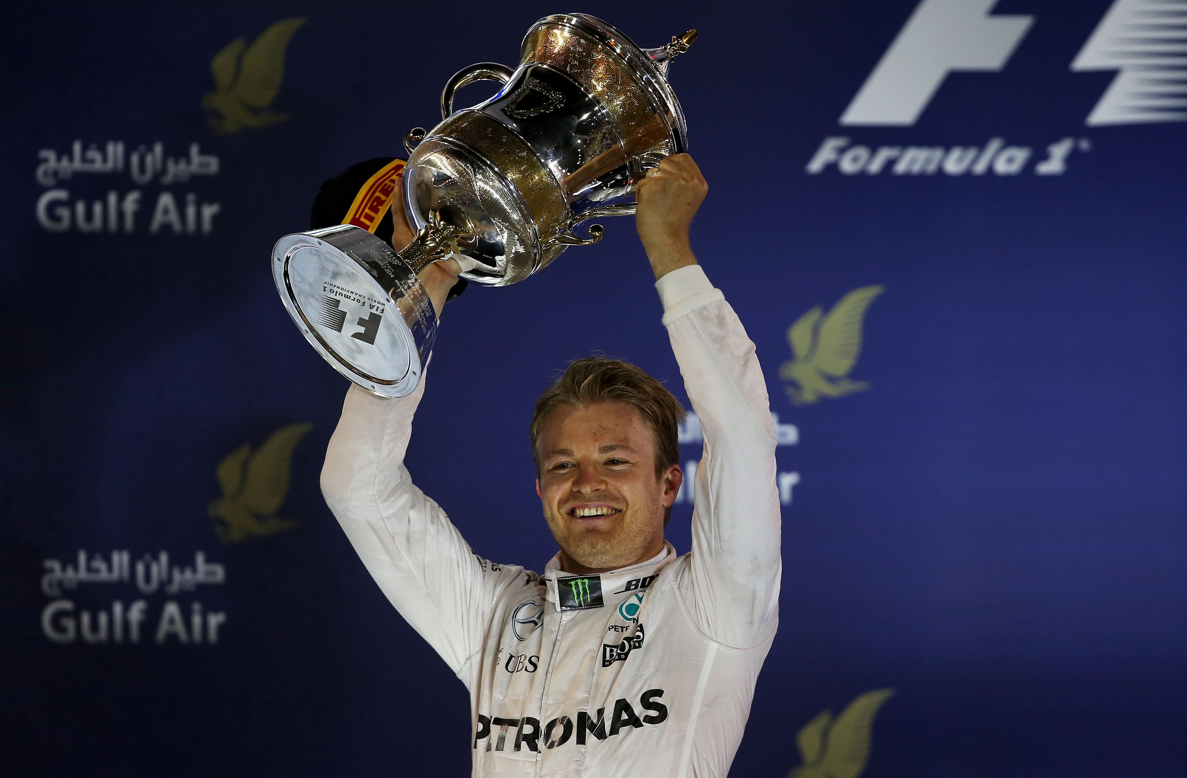 Nico Rosberg festeggia la vittoria in Bahrain