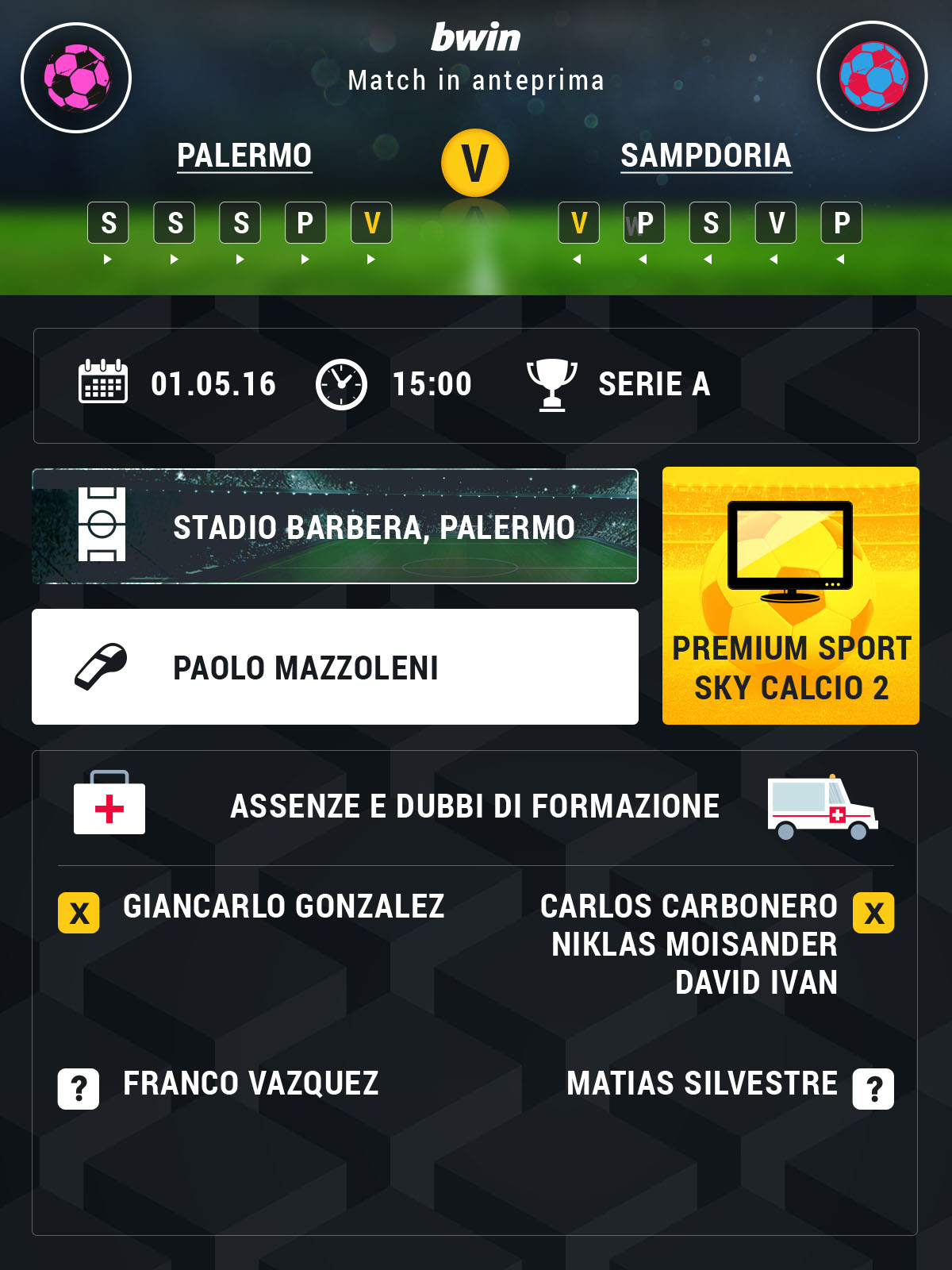 Palermo-Sampdoria preview