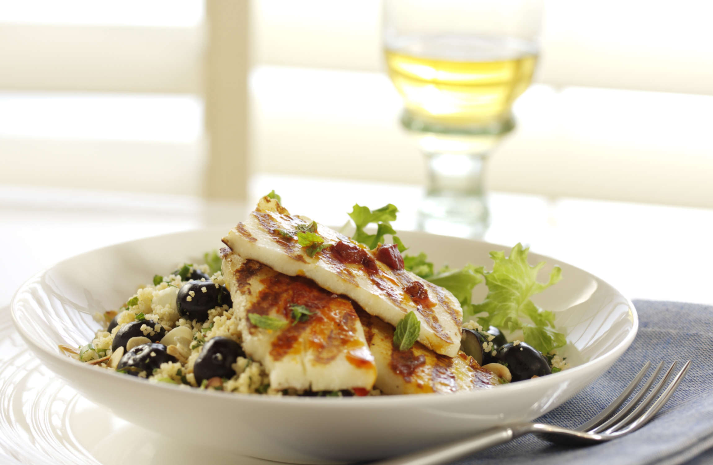 Griddled Halloumi with Blueberry, Spring Onion & Toasted Almond Couscous