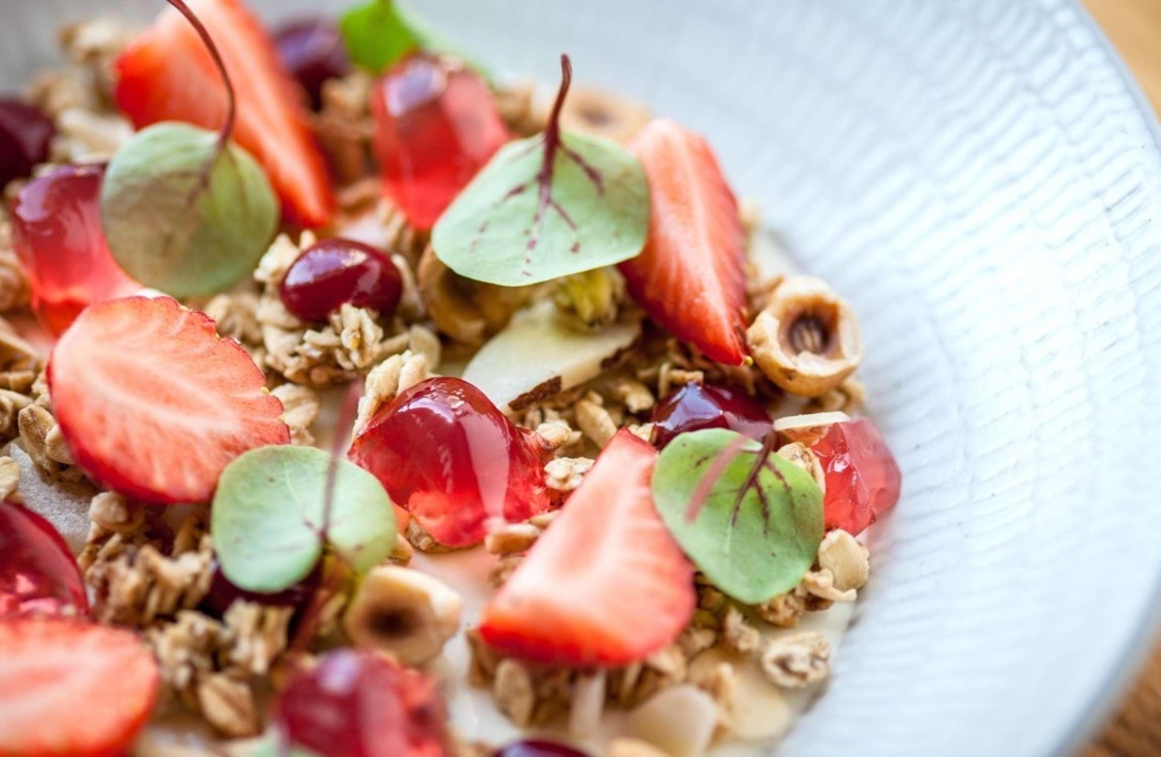 Strawberries with Set Vanilla Yoghurt & Sorrel