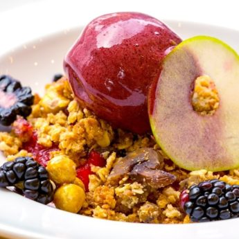 Apple & Blackberry Crumble with Blackberry Sorbet