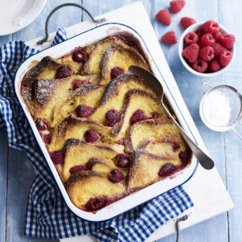 Raspberry Brioche Pudding
