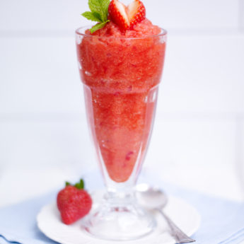 Strawberries with Apple Sorbet