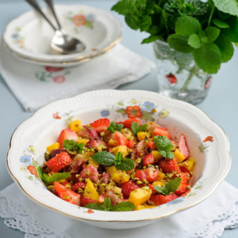 Strawberry, Mango, Pistachio & Rose Water Fruit Salad