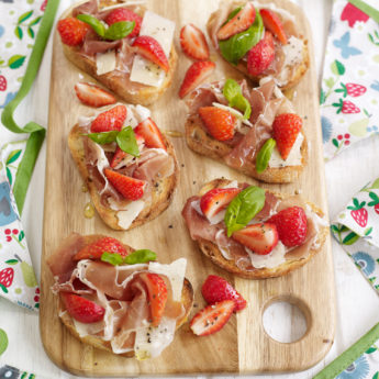 Strawberry, Parma Ham & Parmesan Crostini