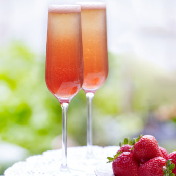 Strawberry, Prosecco, Campari & Elderflower Cocktail