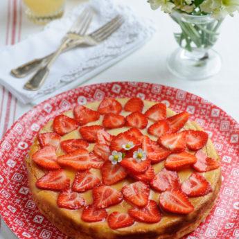 Strawberry, Ricotta & Lemon Thyme Cheesecake