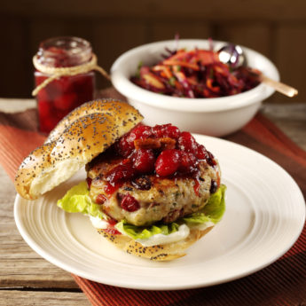 Turkey Burgers with Cranberry & Pecan Sauce