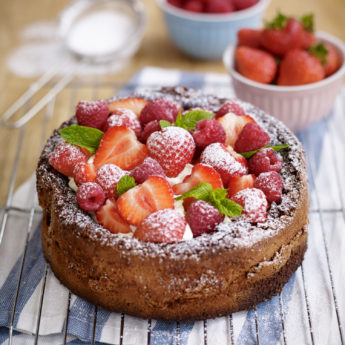 Gluten Free Chocolate Cake with Strawberries & Raspberries