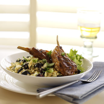 Griddled Harissa Marinated Lamb with Blueberry, Spring Onion & Toasted Almond Couscous