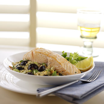 Griddled Harissa Marinated Salmon with Blueberry, Spring Onion & Toasted Almond Couscous