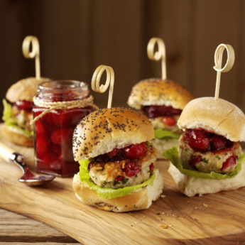 Mini Turkey Burgers with Cranberry & Pecan Sauce