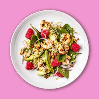 Salade Printanière Crevettes & Framboises