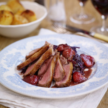 Pan Roasted Duck with a Strawberry Red Wine Sauce & Braised Red Cabbage