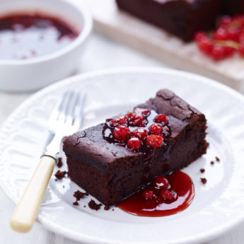 Sticky Chocolate & Redcurrant Slice