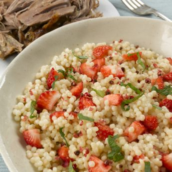 Roasted Lamb Shoulder with Strawberries, Pink Peppercorn & Mint Couscous