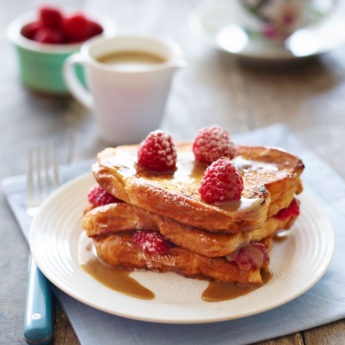 Vanilla French Toast with Raspberries & Toffee Butter Sauce