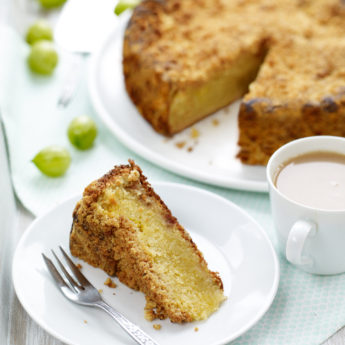 Gooseberry Crumble & Custard Cake
