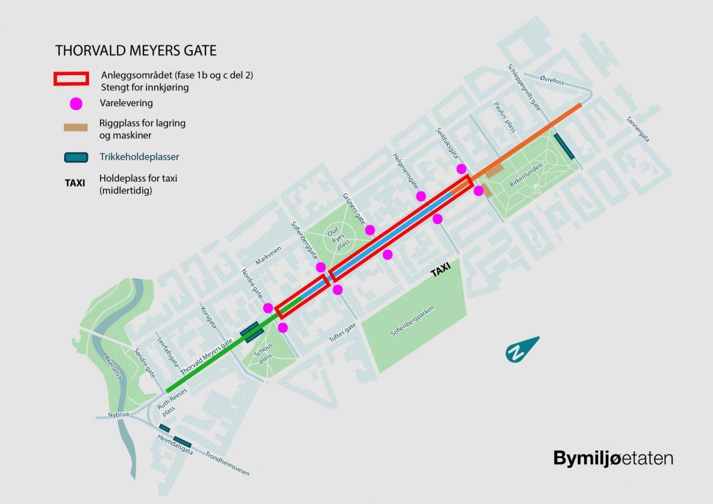 Kart med illustrasjon over anleggsområdet i fase 1b del 2