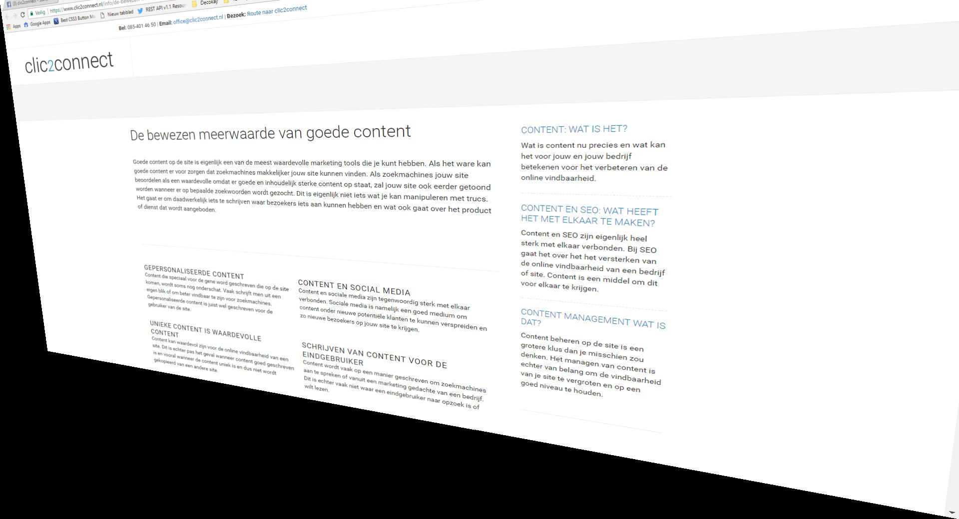 Goede content en de bewezen meerwaarde, in beeld