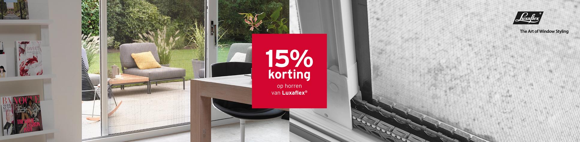 15% korting op horren van Luxaflex
