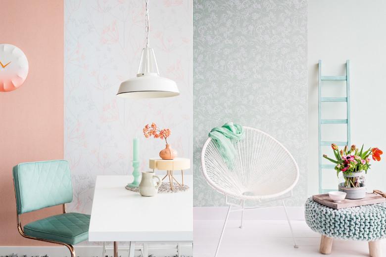 Subtiele Pasteltinten Interieur : Ruime hoekbank combineert met pasteltinten en grijzen voor een