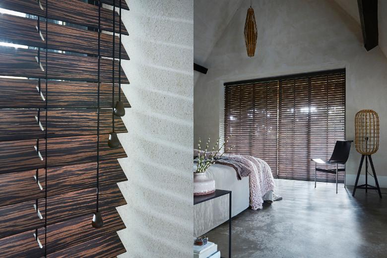 donker hout staat heel chique in de slaapkamer foto bece raambekleding