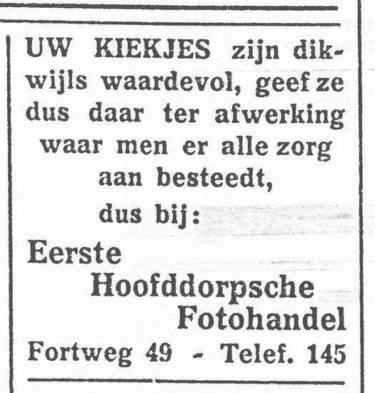 Fortweg 0049 1937 Fotohandel Schelvis