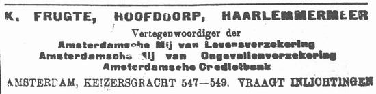 Kruislaan 0030 Frugte Karel 1914 Vertegenwoordiger Verzekeringen