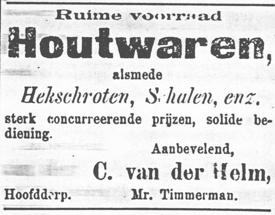 Raadhuislaan 0012 Helm C vd 1898 Mr Timmerman verkoopt Houtwaren