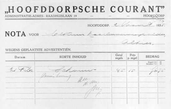 Raadhuislaan 0019 Hoofddorpse Courant 1931 Advertentienota
