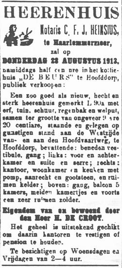 Hoofdweg W 068_ 1913 Huize de Groot te Koop
