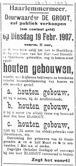 Hoofdweg W 073_ 1907 Verkoop Houten gebouwen vd Genie