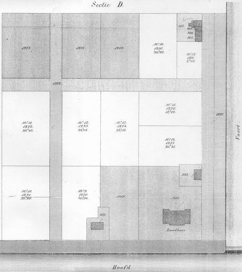 Buurtje Eerste Huizen 1869 Kadasterkaart