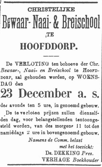 Hoofdweg W 0691 Christ Bewaar Naai en Breischool Hoofddorp 1885 Verloting