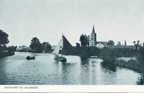 Aalsmeerderdijk 041_ Overzijde 1916 met NH Kerk blauwig