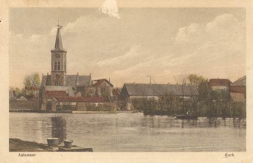 Aalsmeerderdijk 041_ Overzijde 1919 met NH Kerk 01 Ingekl