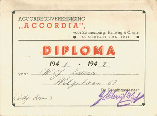 Accordeon Vereniging Accordia 1941 Diploma W J Evers