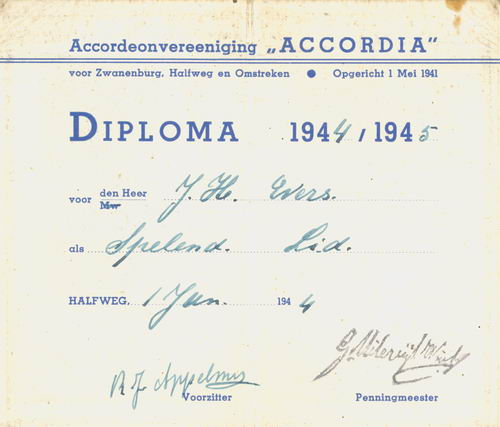Accordeon Vereniging Accordia 1944 Diploma J H Evers