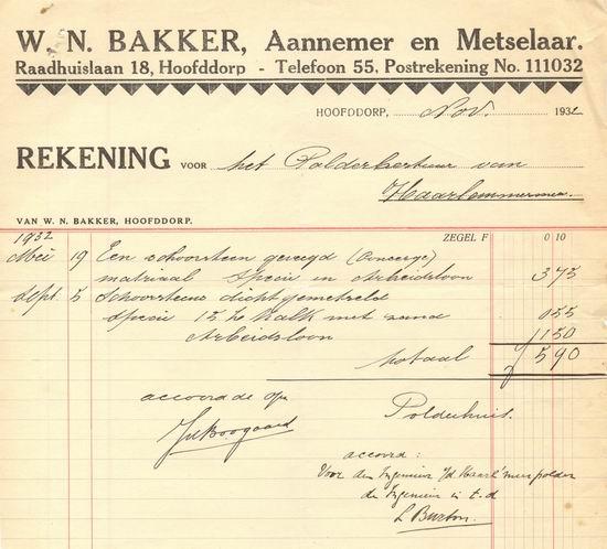Raadhuislaan 0018 W N Bakker 193210 nota aan Polder