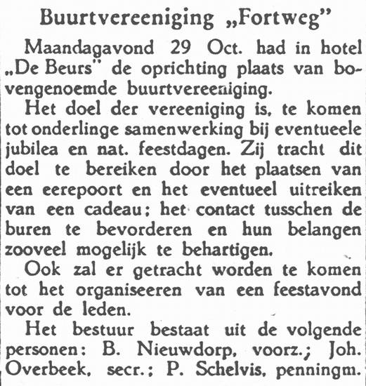 Buurtvereniging Fortweg 1945 Oprichting