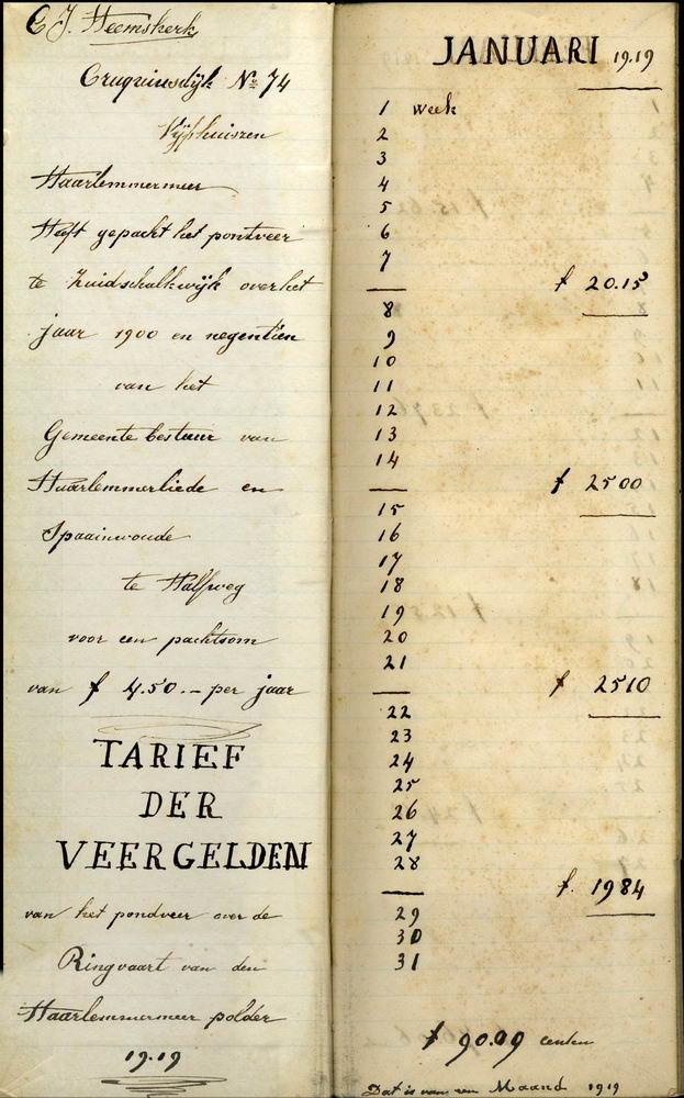 Cruquiusdijk 0078 1919-39 Kasboek Pontveer 01