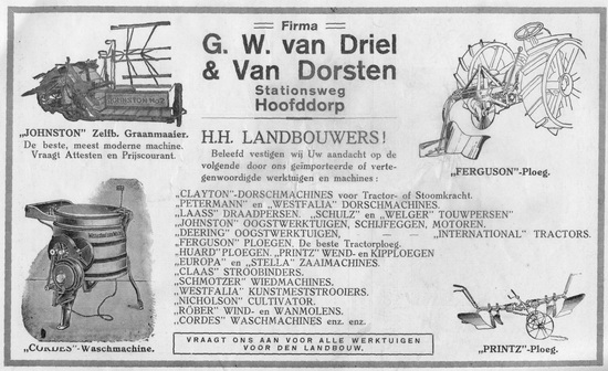Stationsweg W 00__ GW v Driel en v Dorsten 1927 Advertentie