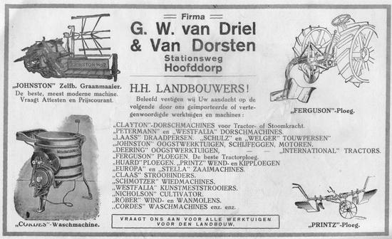 Stationsweg W 00__ GW v Driel en v Dorsten 1927 Advertentie