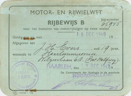 Evers J H 1949 Rijbewijs B Motor