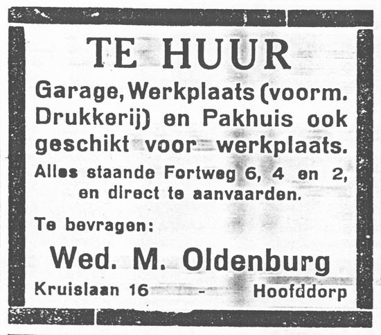 Fortweg 0002-6 1930 te Huur bij Wed M Oldenburg