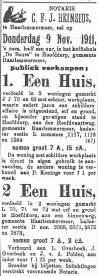 Fortweg 0025-29 1911 verkoop Huizen Overbeek